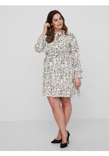 Damen JUNAROSE Feminines Blumenprint Kleid weiß | 05713736018656