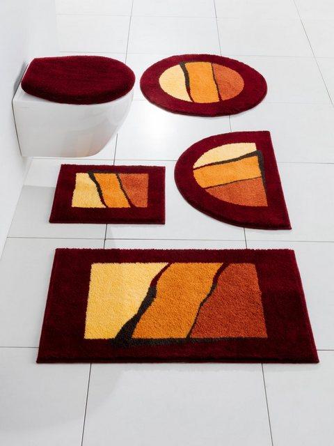 GRUND Badgarnitur mit modernen Streifen   Bad > Badgarnituren > Badgarnituren-Sets   Rot   Polyacryl   Grund