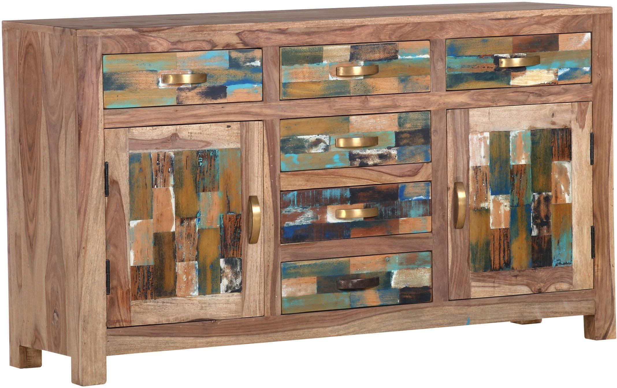 Sideboard »Patchwork« aus massivem Sheesham Holz, Breite 140 cm