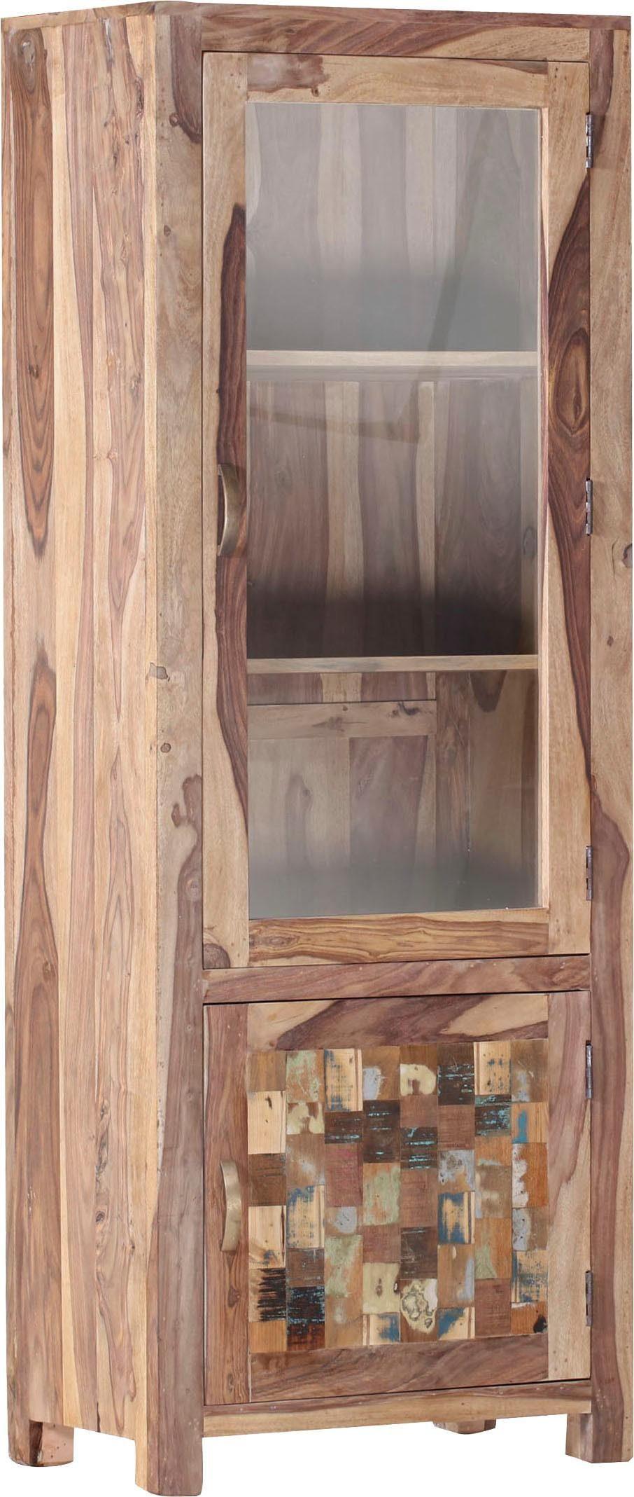 Gutmann Factory Vitrine »Patchwork« aus massivem Sheesham Holz, Höhe 180 cm
