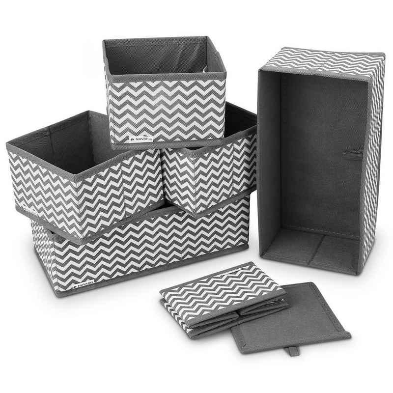 Navaris Aufbewahrungsbox, Organizer Ordnungssystem Stoffboxen - 6 Stück in verschiedenen Größen - für Kleiderschrank und Schubladen - faltbar