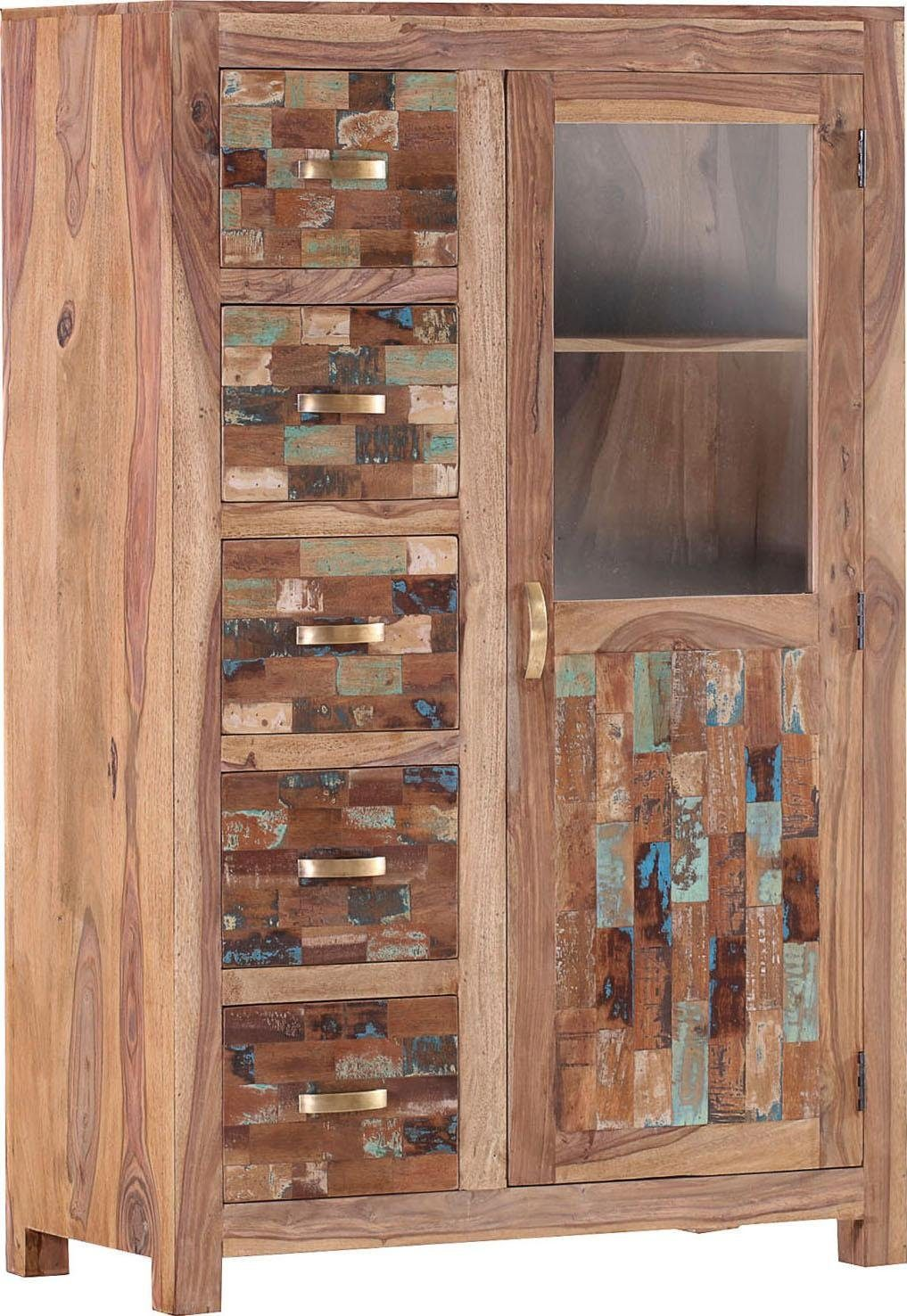 Gutmann Factory Highboard »Patchwork« aus massivem Sheesham Holz, Höhe 147 cm