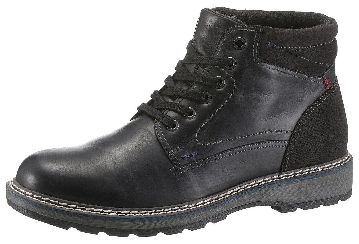 PETROLIO Schnürboots im modischen Materialmix   Schuhe > Boots > Schnürboots   Schwarz   Leder   PETROLIO