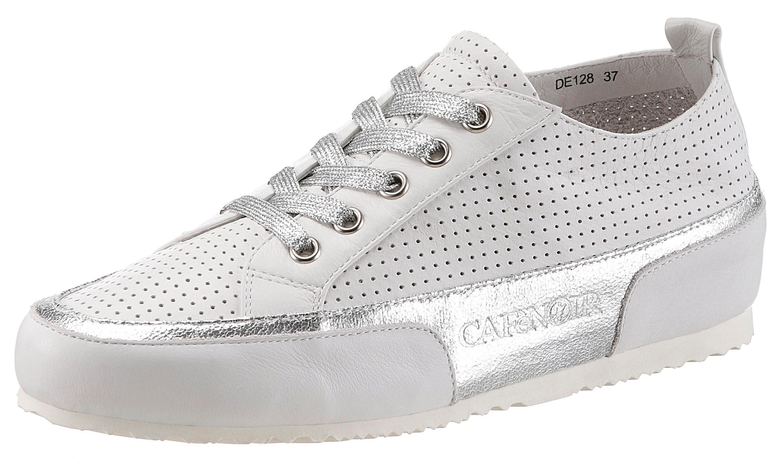 Cafe Noir Sneaker, mit modischem LaserCut kaufen  weiß-silberfarben