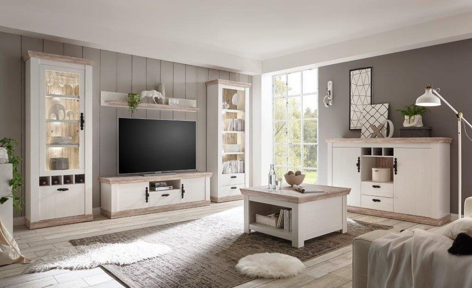 home affaire wohnwand florenz 8 4 tlg im romatischen landhauslook online kaufen otto. Black Bedroom Furniture Sets. Home Design Ideas