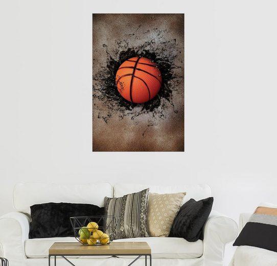 Posterlounge Wandbild »Steinmauer und Basketball«