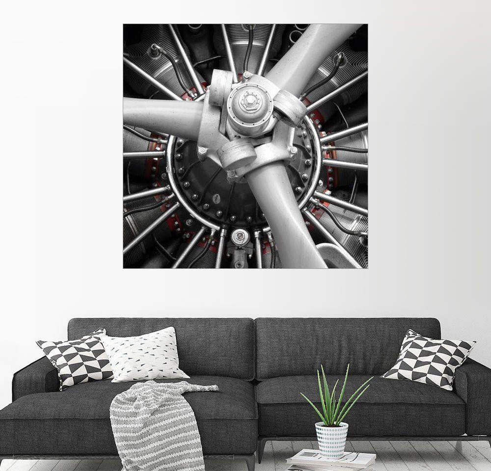 Posterlounge Wandbild - HADYPHOTO by Hady Khandani »JU52 MOTOR MONOCHROME 1«