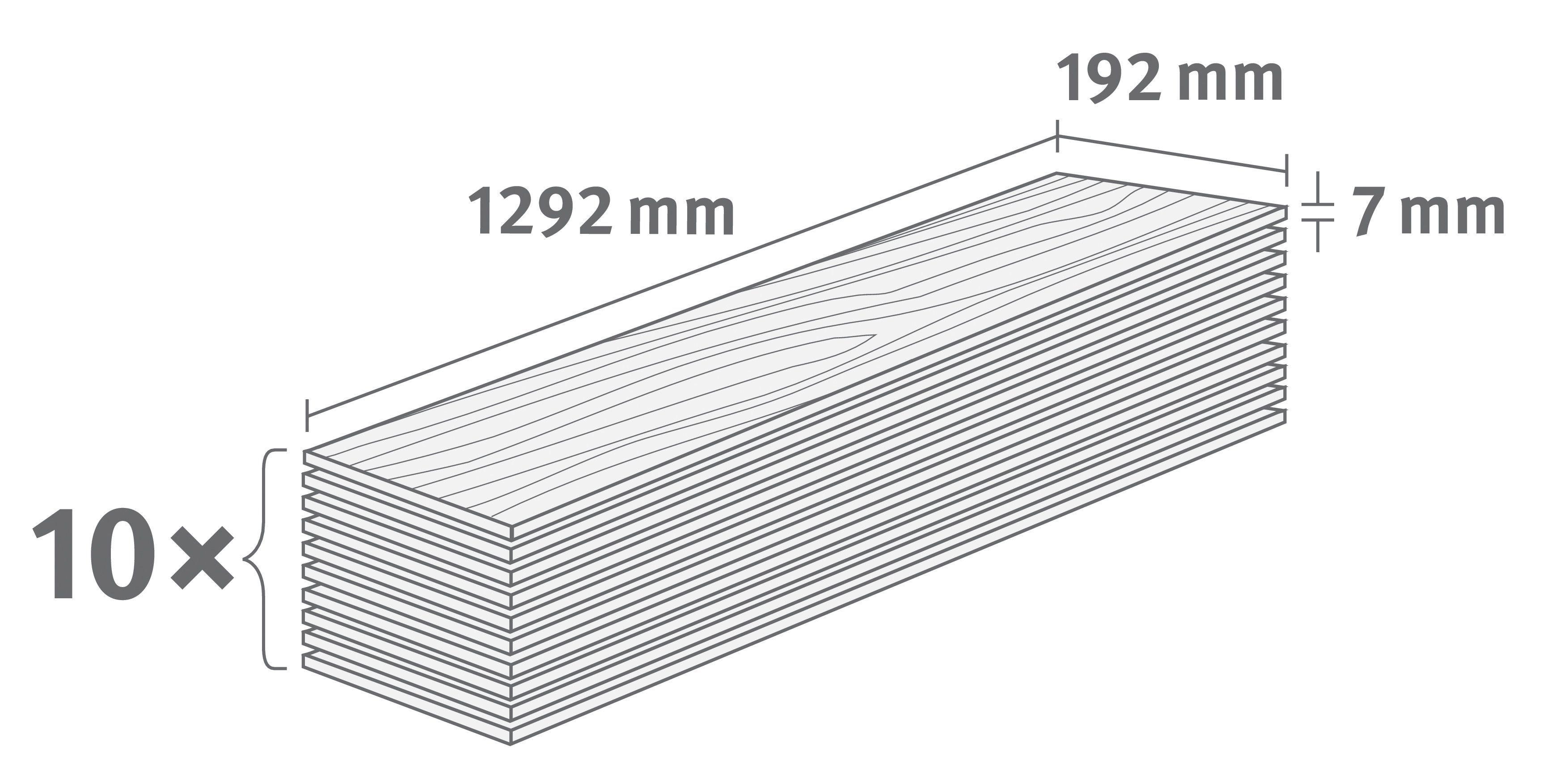 EGGER Laminat »EGGER BASIC Stangl Buche«, 1292 x 192 mm, Stärke: 7 mm