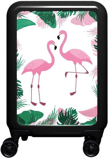 meinTrolley Hartschalen-Trolley »Flamingo im Dschungel«, 4 Rollen, Made in Germany