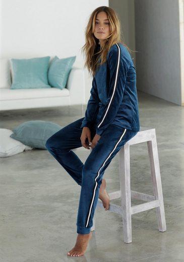 Blau shirt Nicki Lascana Aus Weichem Lounge N8PvOn0ymw