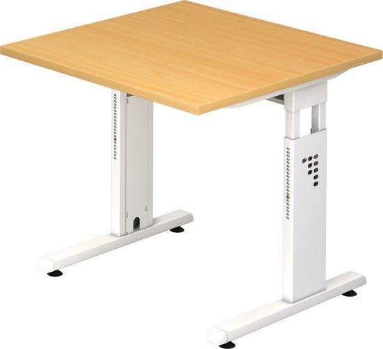 bümö Schreibtisch »OM-OS08-W«, höhenverstellbar - Quadrat: 80x80 cm - Gestell: Weiß, Dekor: Buche