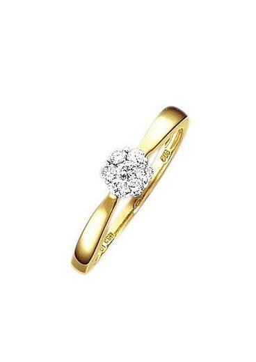 Firetti Verlobungsring »Vorsteckring, Ringkopf ca. 5,5 mm breit«, mit Diamanten