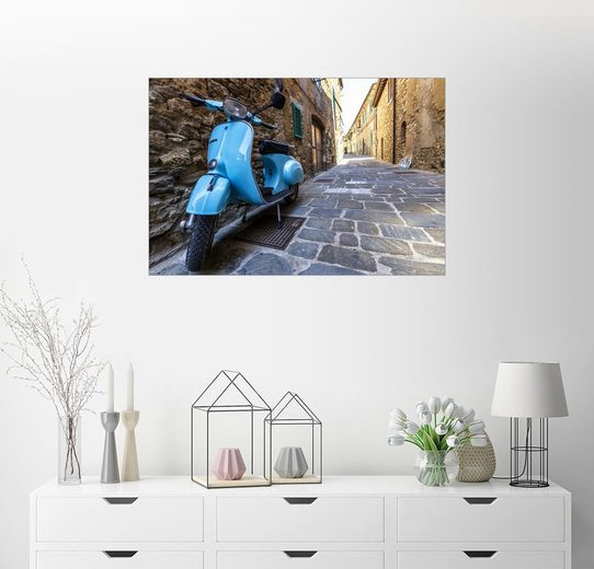 Posterlounge Wandbild - Filtergrafia »Motorroller Vespa in den Gassen von Italien«