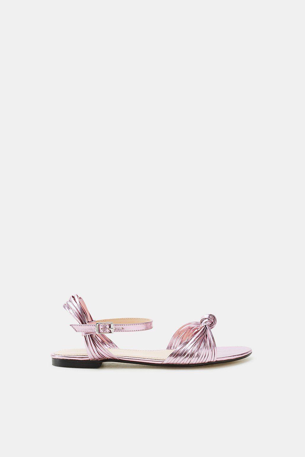 Esprit ESPRIT Flache Metallic-Sandale mit schmalen Riemchen, weiß, ICE