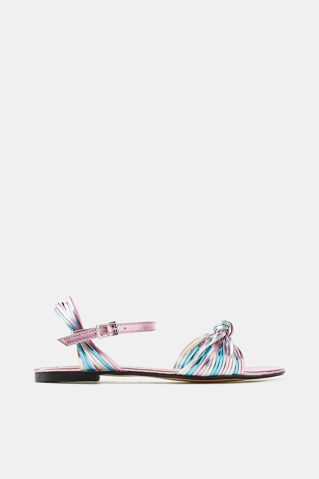 Esprit ESPRIT Flache Metallic-Sandale mit schmalen Riemchen, rosa, PINK