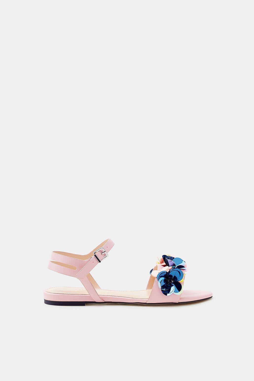 ESPRIT Sandale mit floral angeordneten Pailletten  PINK
