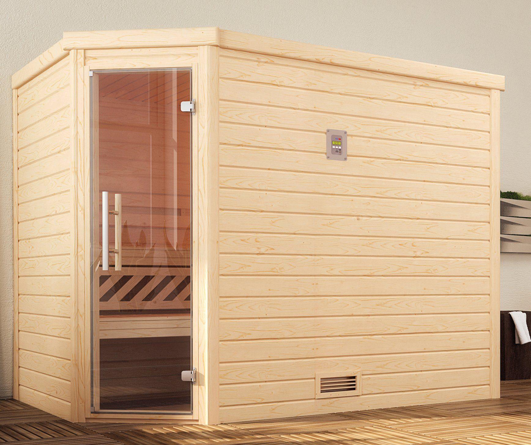 WEKA Sauna »Turku Eck Gr.2«, 245x195x204 cm, ohne Ofen, Glastür