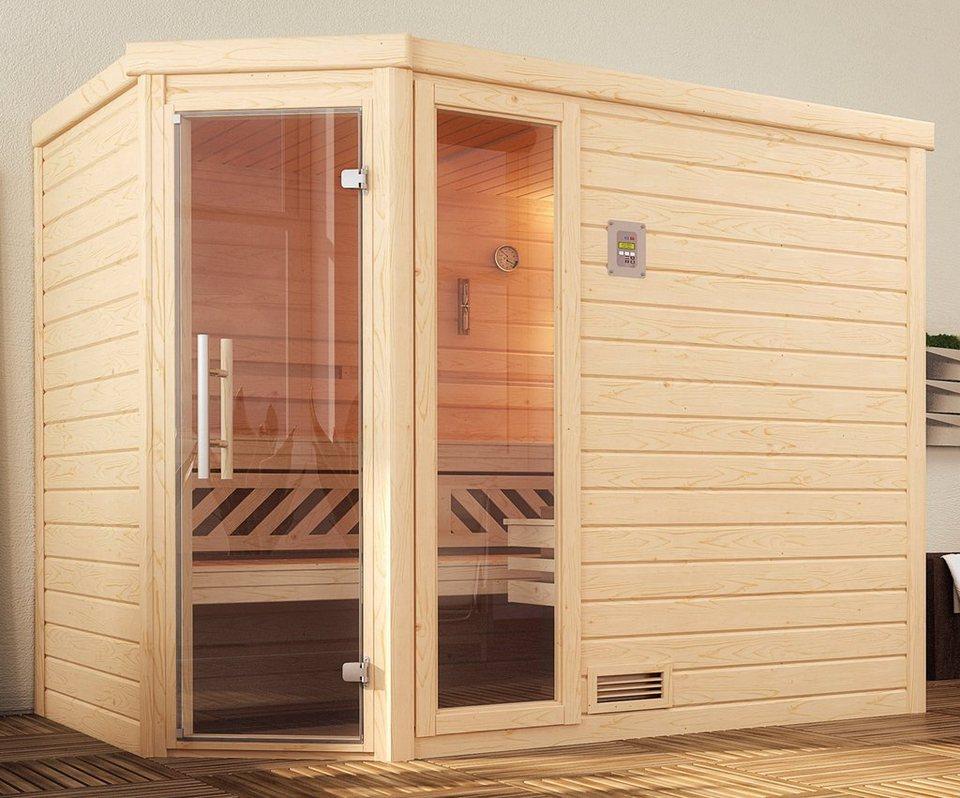 Weka sauna turku eck gr 2 245x195x204 cm ohne ofen mit fenster online kaufen otto - Sauna fenster ...