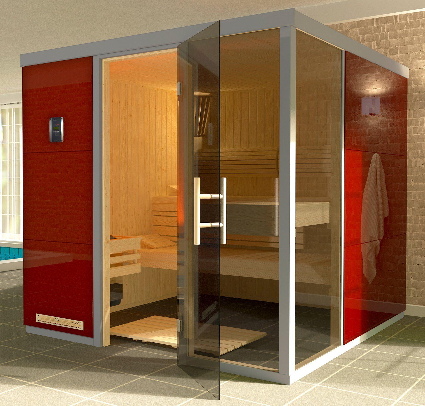 WEKA Sauna »Wellnissage Rosso 1R«, 221x185x206 cm, ohne Ofen, Türanschlag rechts