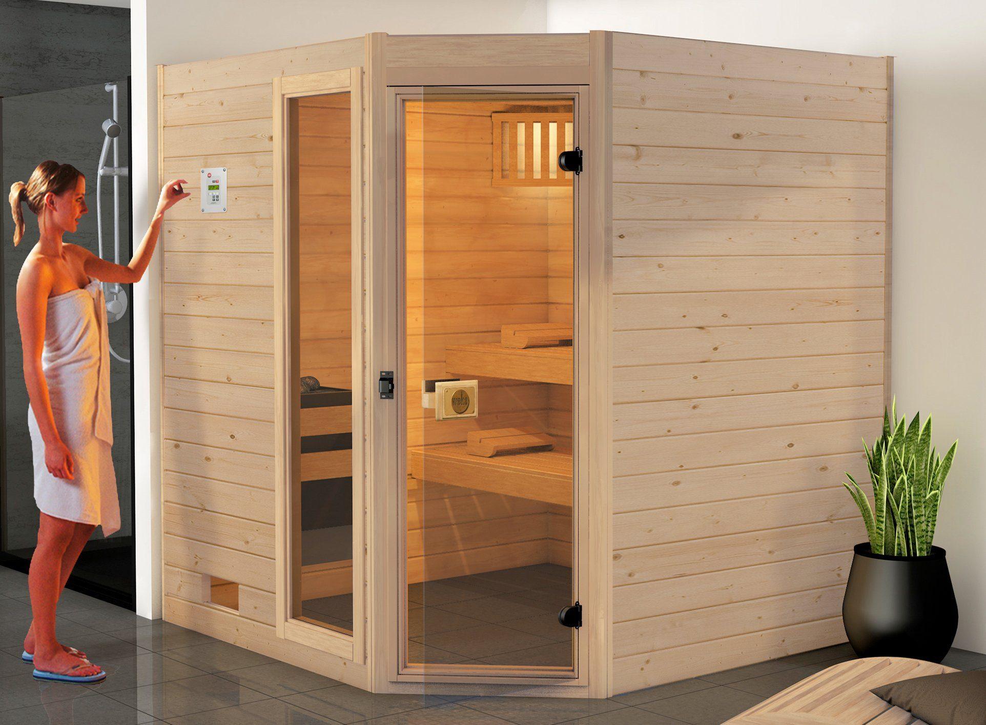 WEKA Sauna »Valida Eck Gr.2«, 189x189x204 cm, ohne Ofen, mit Fenster