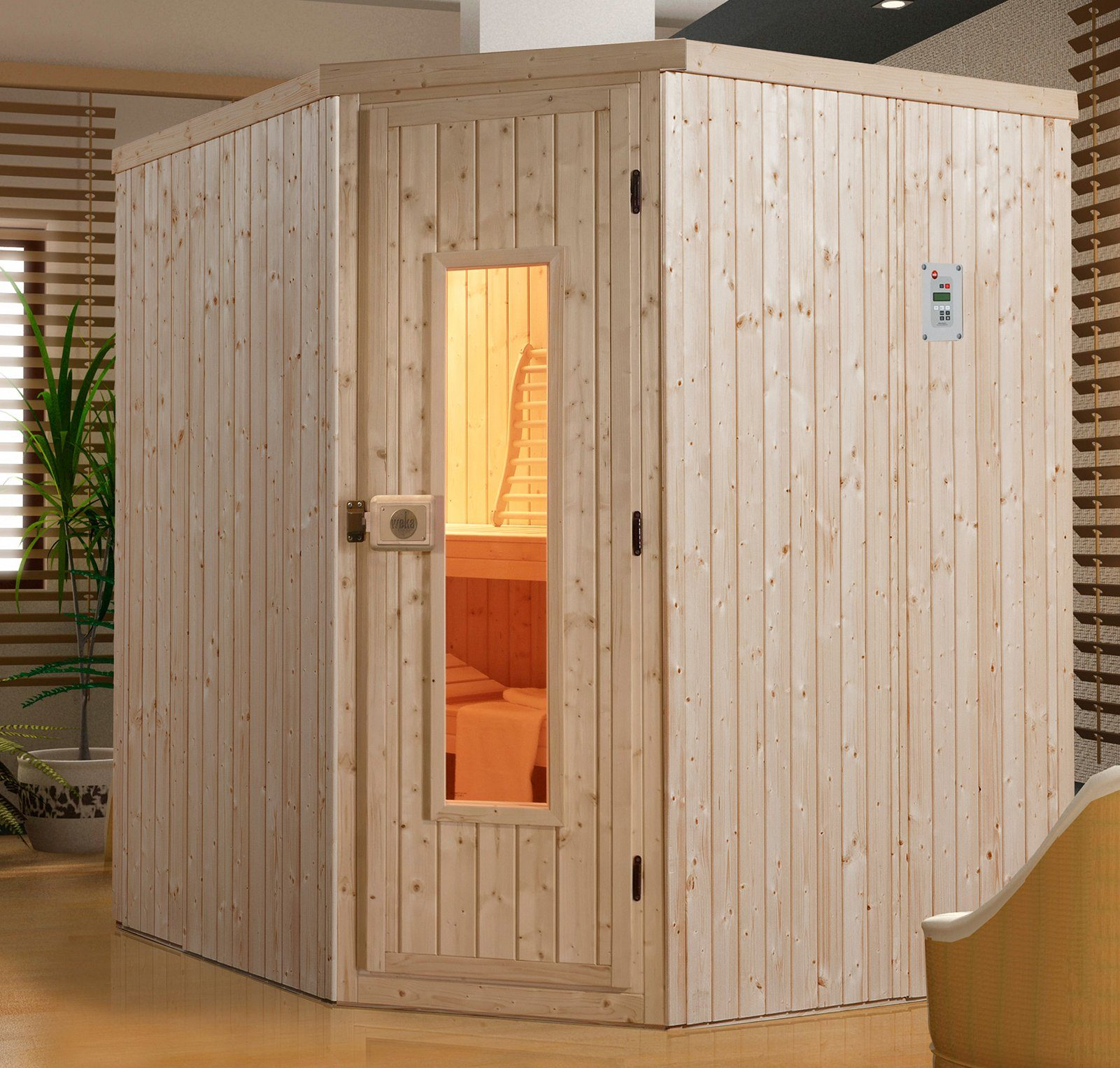 WEKA Sauna »Kiruna«, 194x177x199 cm, ohne Ofen, Holztür