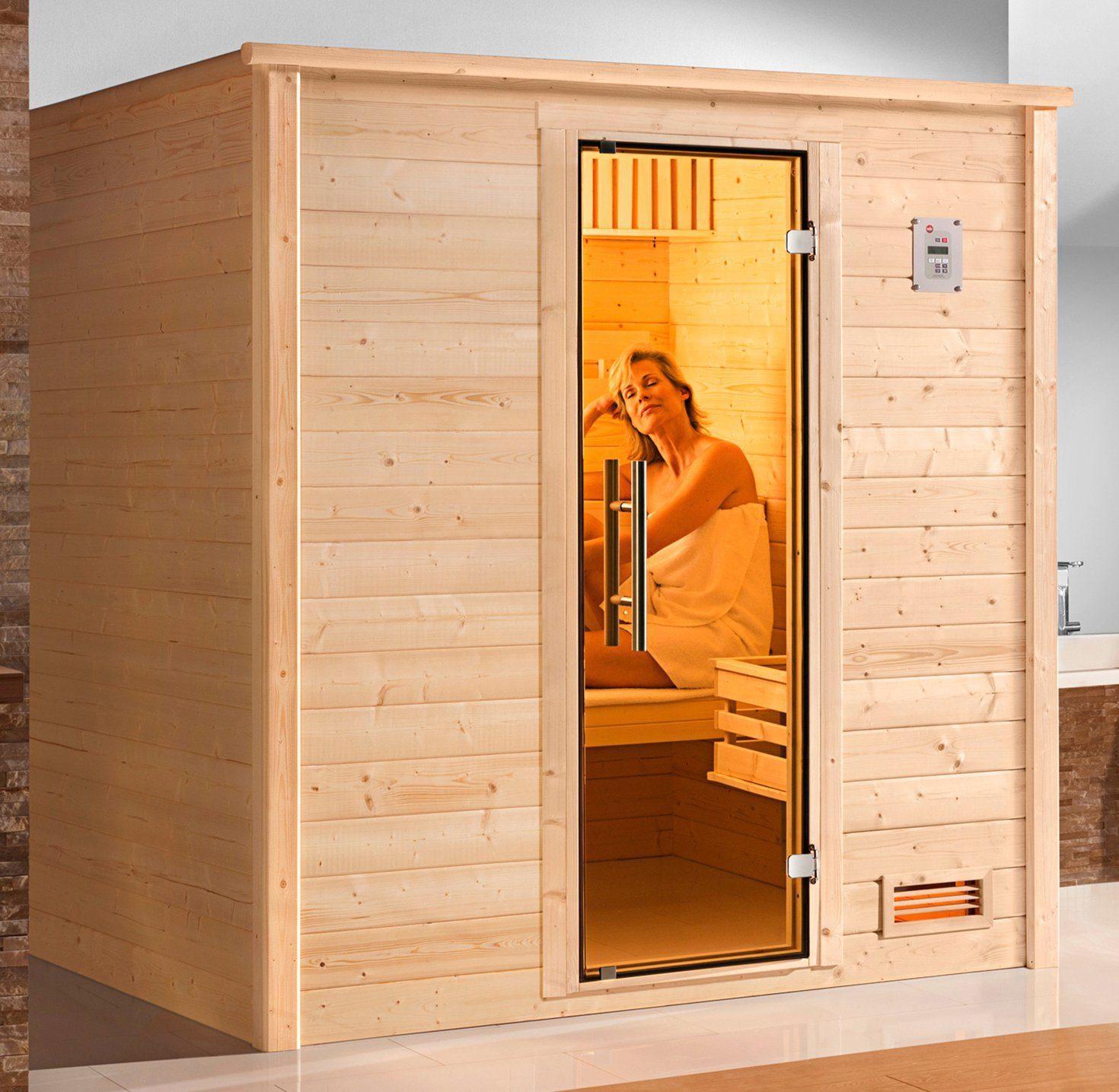 WEKA Sauna »Bergen Gr.1«, 198x148x204 cm, ohne Ofen, Glastür