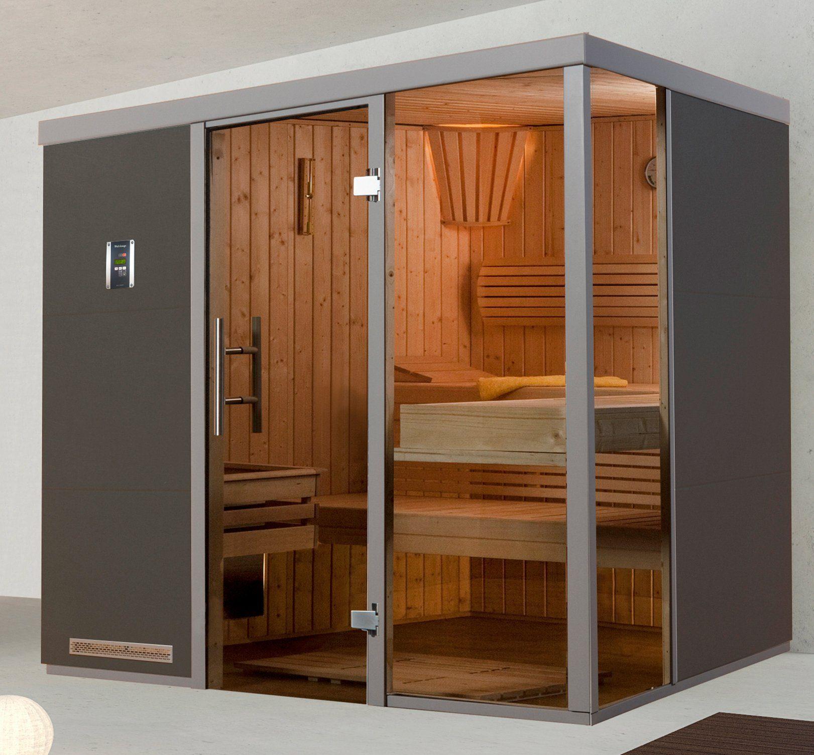 WEKA Sauna »Wellnissage Grigio 1R«, 221x185x206 cm, ohne Ofen, Fensterecke rechts