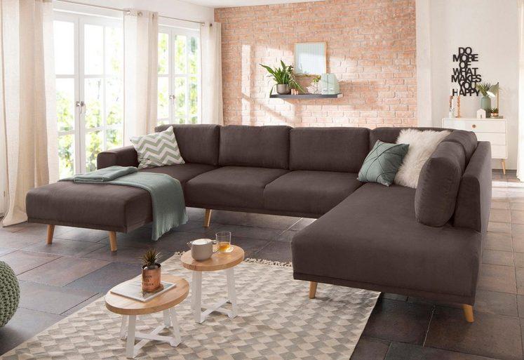 Home affaire Wohnlandschaft »Lasse«, im scandinavischem Stil mit Holzfüßen