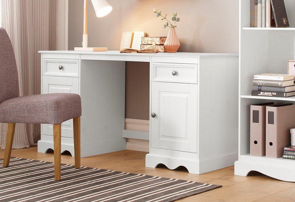 Home affaire Schreibtisch »Melissa«, aus massiver Kiefer, mit 2 Türen und 2  Schubladen, Breite 150 cm online kaufen   OTTO