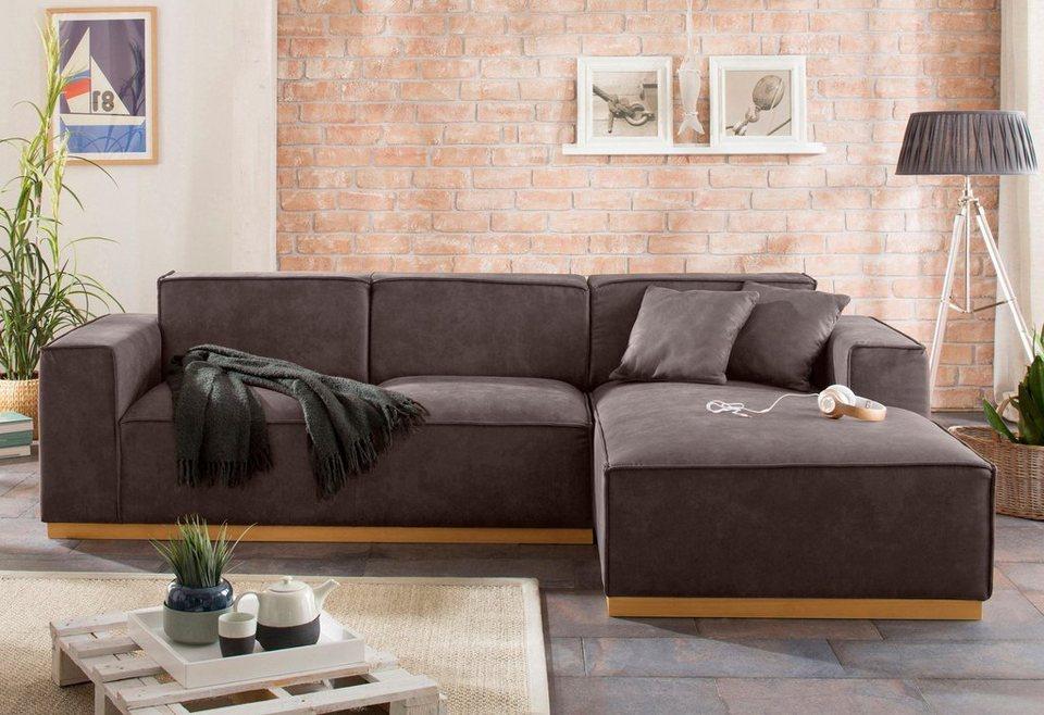 home affaire polsterecke terry mit offener kedernaht und holzuntergestell online kaufen otto. Black Bedroom Furniture Sets. Home Design Ideas