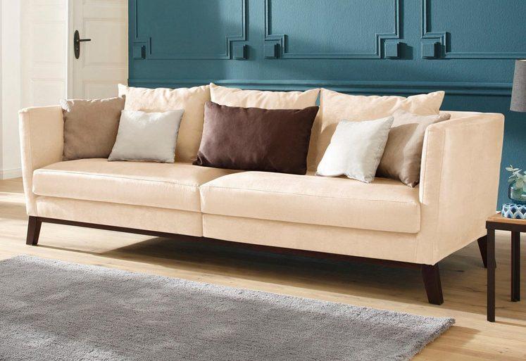 Home affaire Big Sofa Kim mit Holzbeinen und vielen