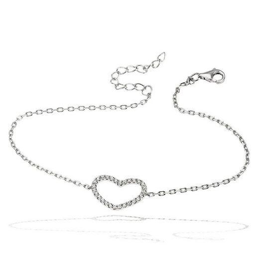 goldmaid Damenarmband 925/- Silber Herz mit weißen Zirkonia