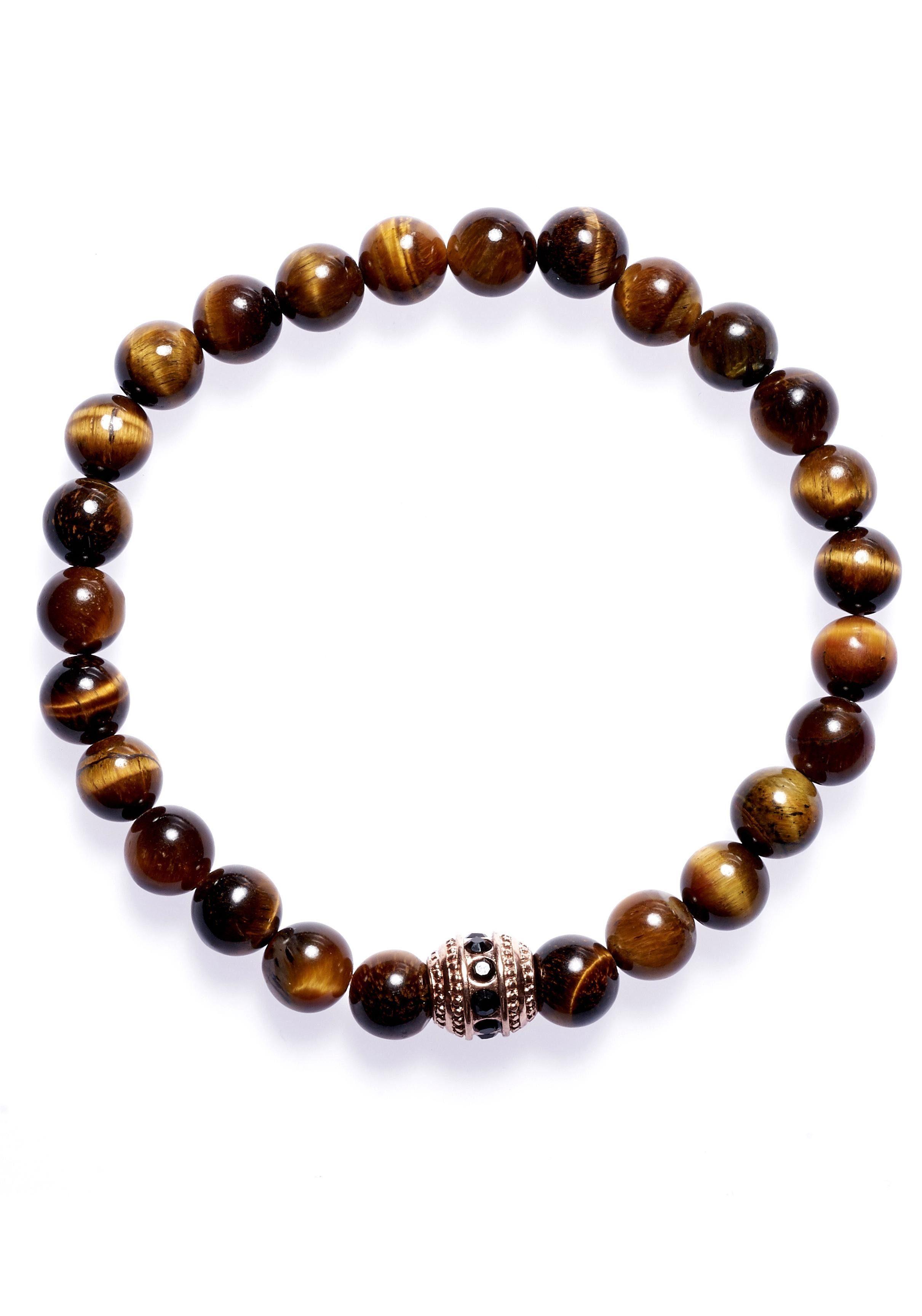 ROYAL EGO Armband »Bead Tiger Eye Circle, 1416« mit Glassteinen und Tigeraugen