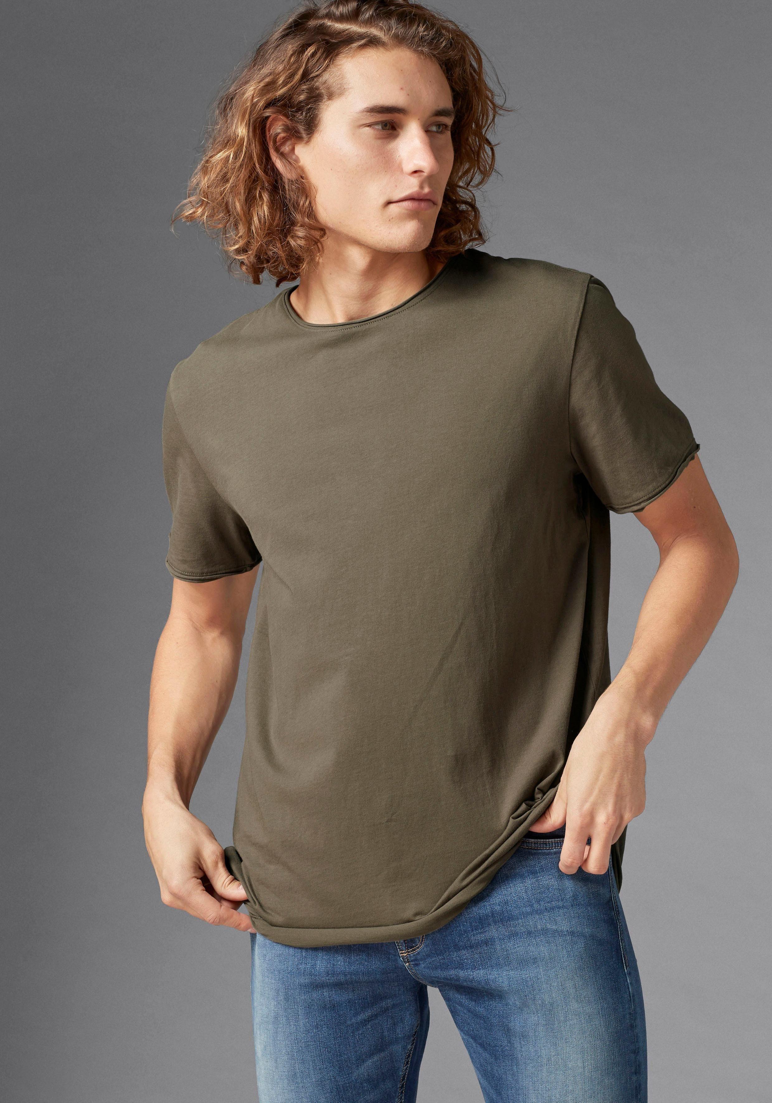 GUIDO MARIA KRETSCHMER T-Shirt Rollkante am Kragen und Ärmelabschluß