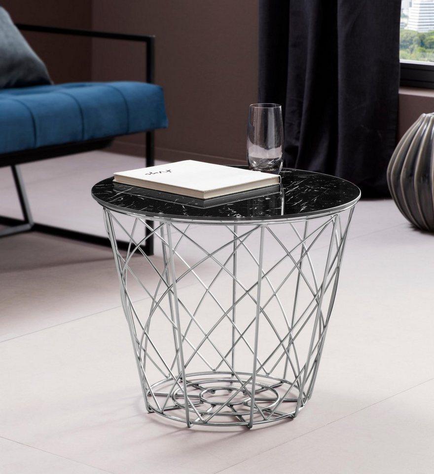 Places of style beistelltisch rund in marmoroptik otto for Tischplatte marmoroptik