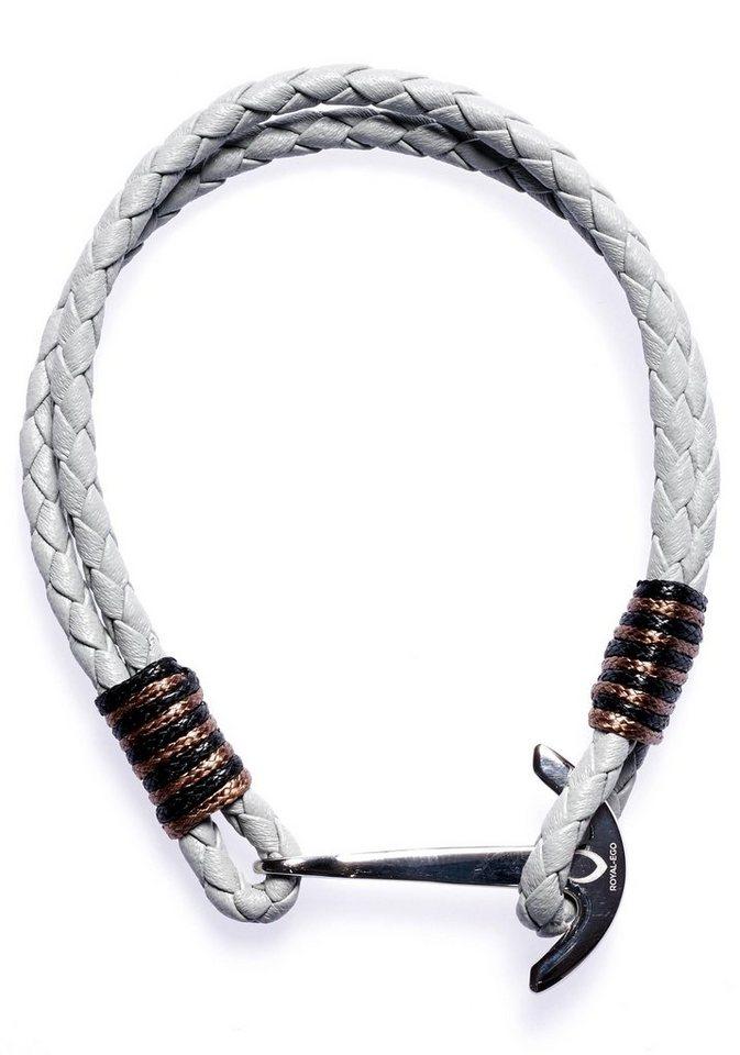 ROYAL EGO Lederarmband »Maritim Anchor Leather white silver, 1399« | Schmuck > Armbänder > Lederarmbänder | Grau | ROYAL EGO