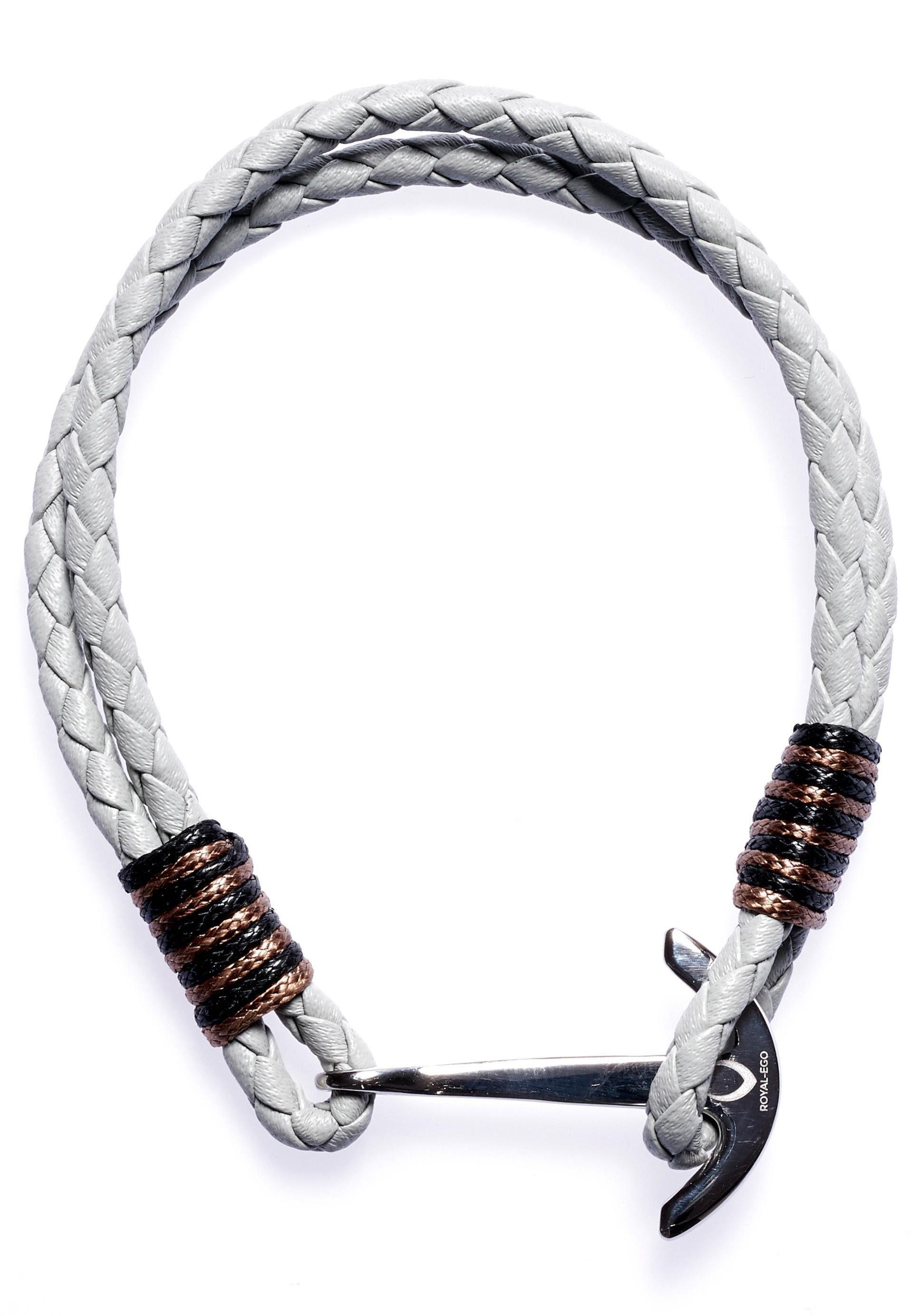 ROYAL EGO Lederarmband »Maritim Anchor Leather white silver, 1399«