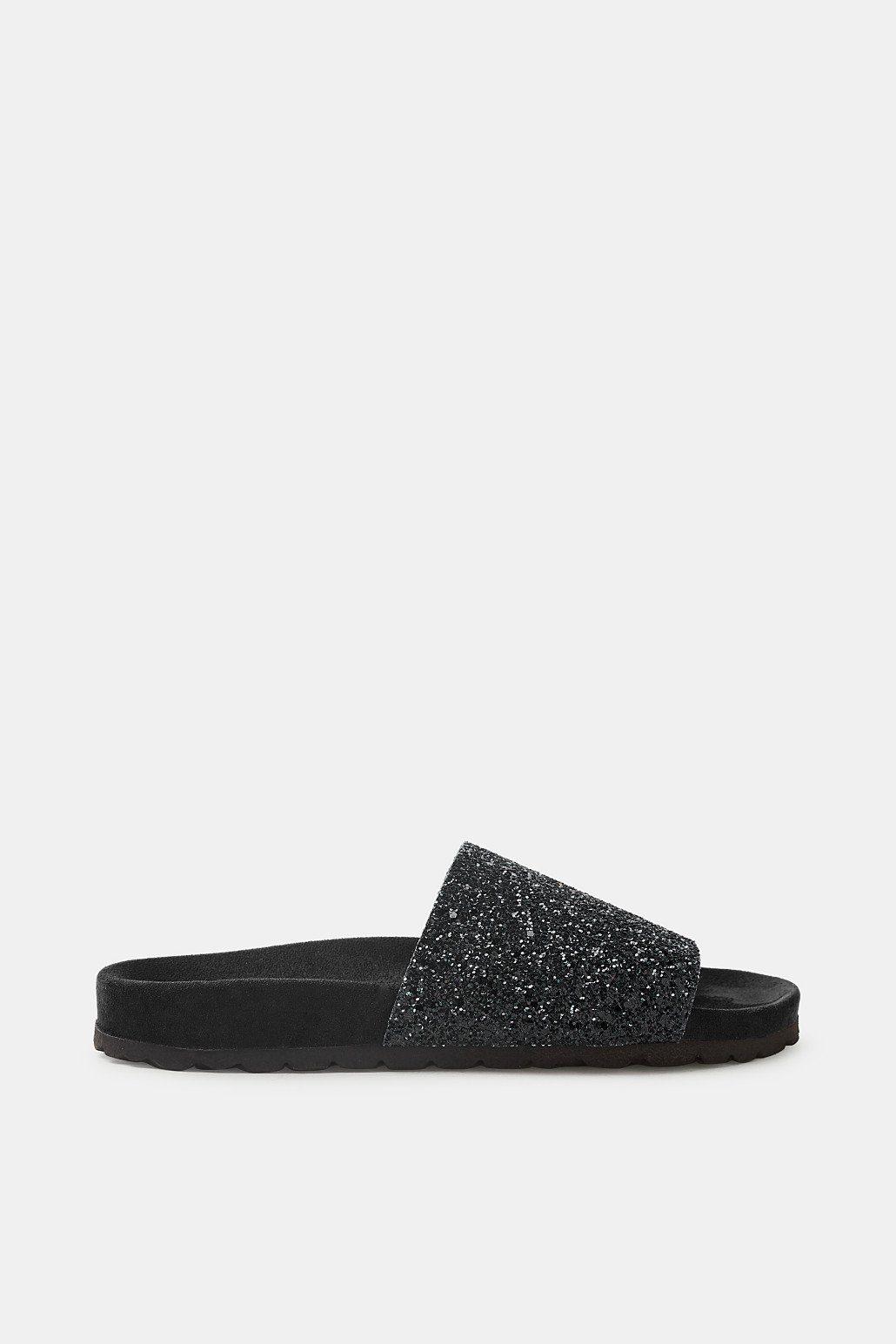 Esprit Plateau-Pantolette mit Glitter-Riemen für Damen, Größe 36, Black