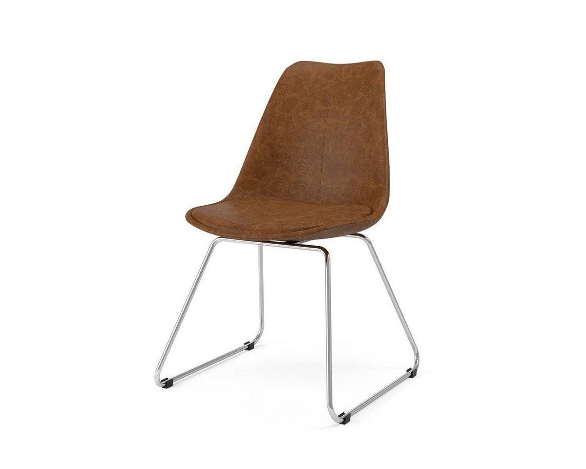 Kasper-Wohndesign  Stuhl Kunstleder braun Metallkufe versch. Farben Malim silber   04250385969720