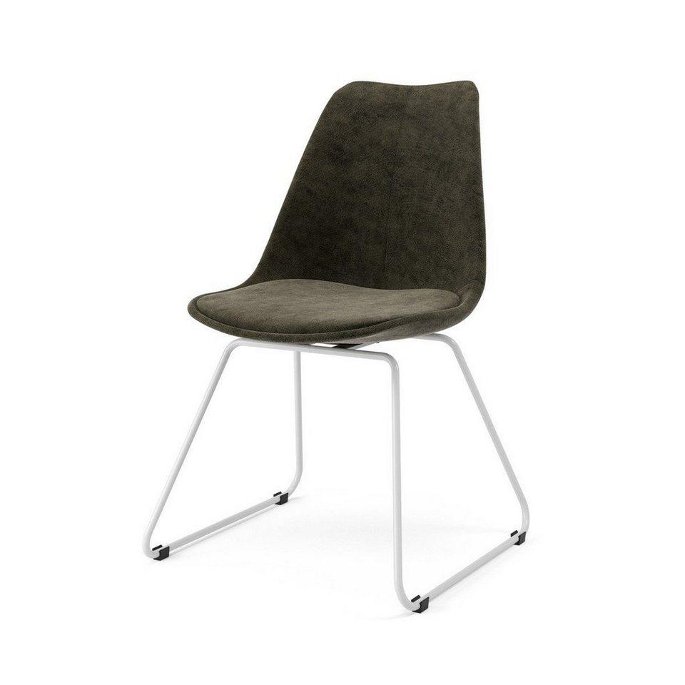 Kasper Wohndesign: Kasper-Wohndesign Stuhl Velour Anthrazit Metallkufe Versch