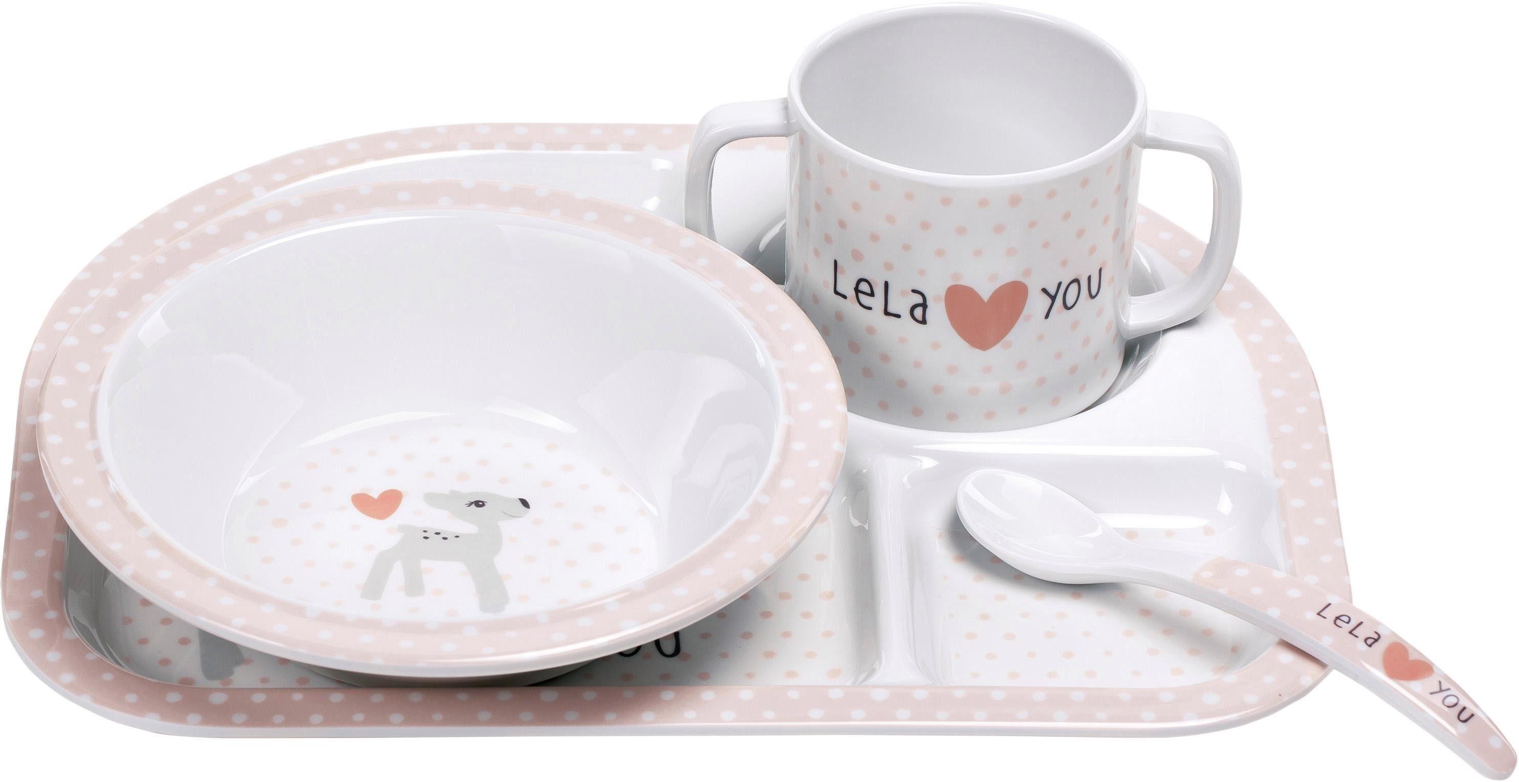 Lässig Kindergeschirr Set, 4-tlg., »Dish Set, Lela Light Pink«