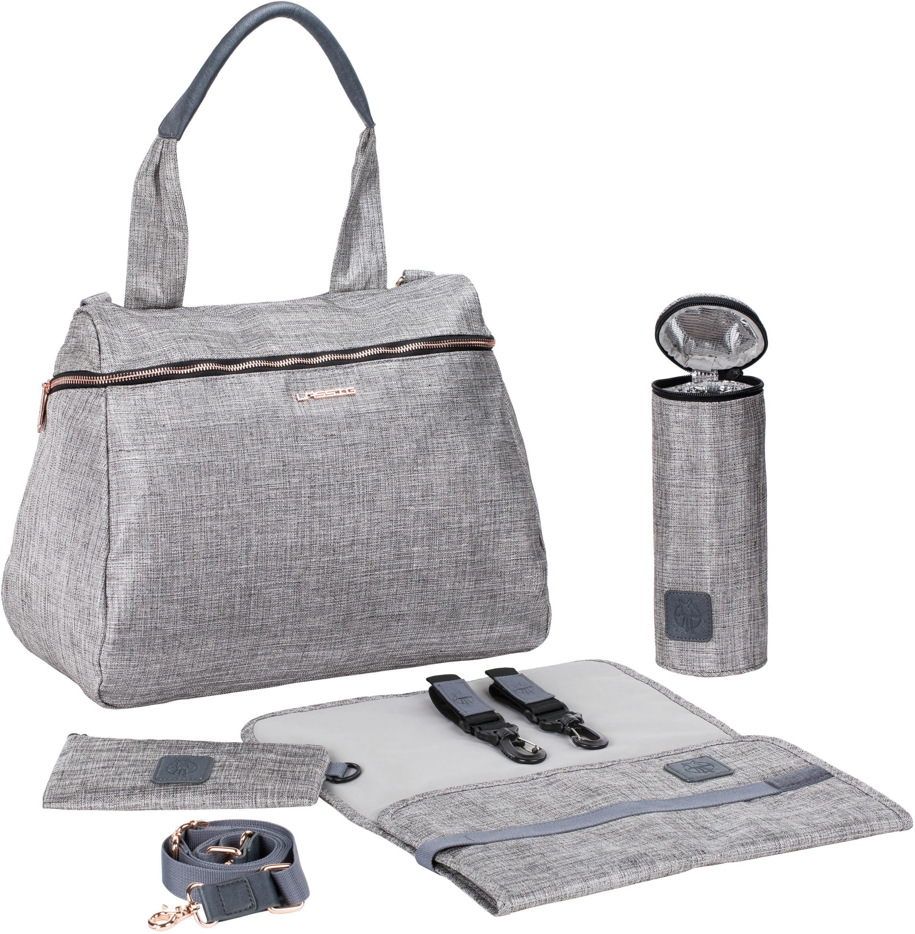 Lässig Wickeltasche mit Wickelunterlage, »Glam Rosie Bag, Anthracite Glitter«