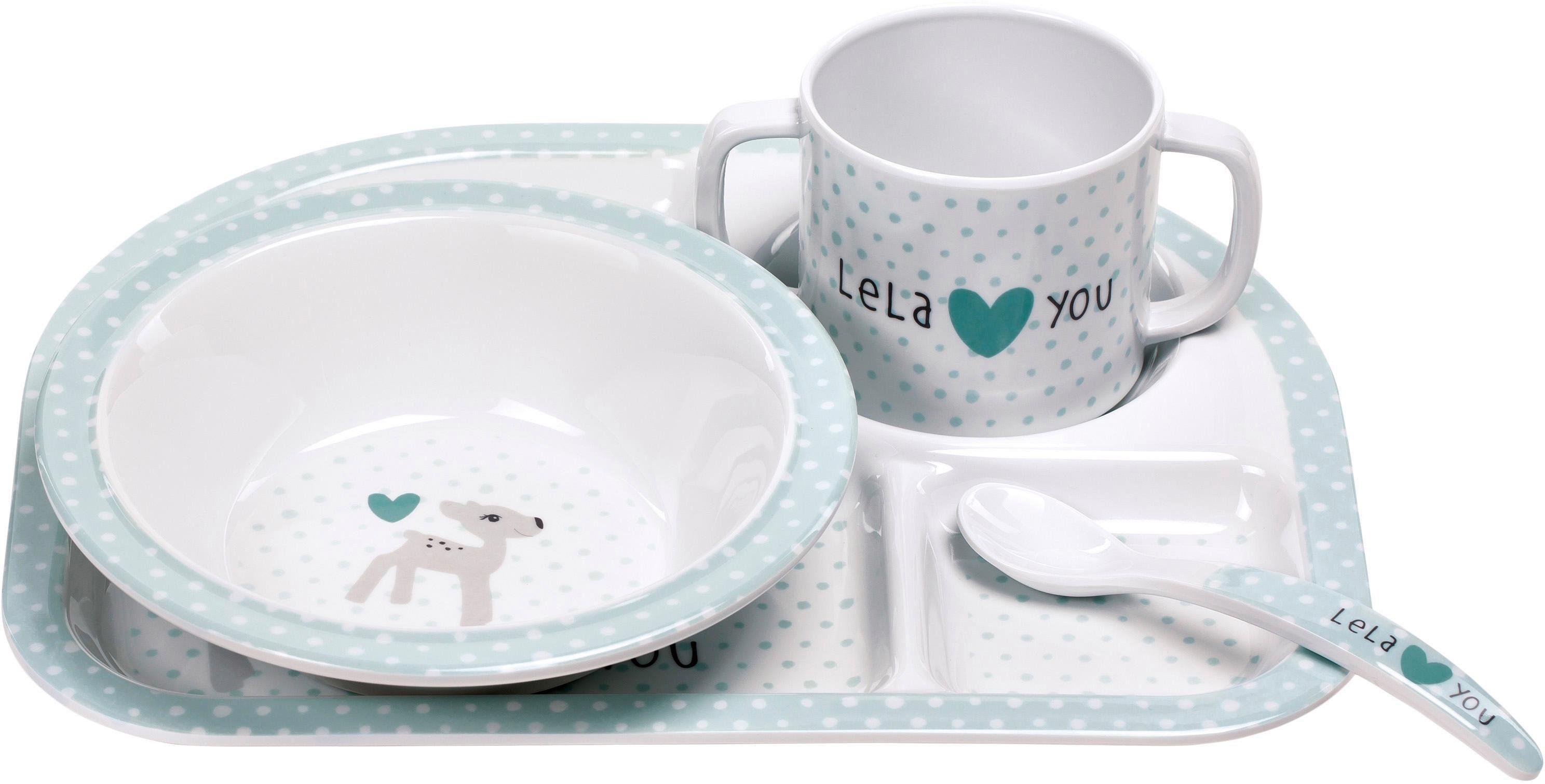 Lässig Kindergeschirr Set, 4-tlg., »Dish Set, Lela Light Mint«