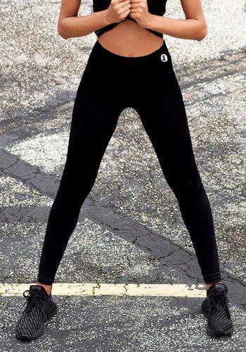 Damen active by LASCANA Leggings mit Ziernähten schwarz | 04005551079488