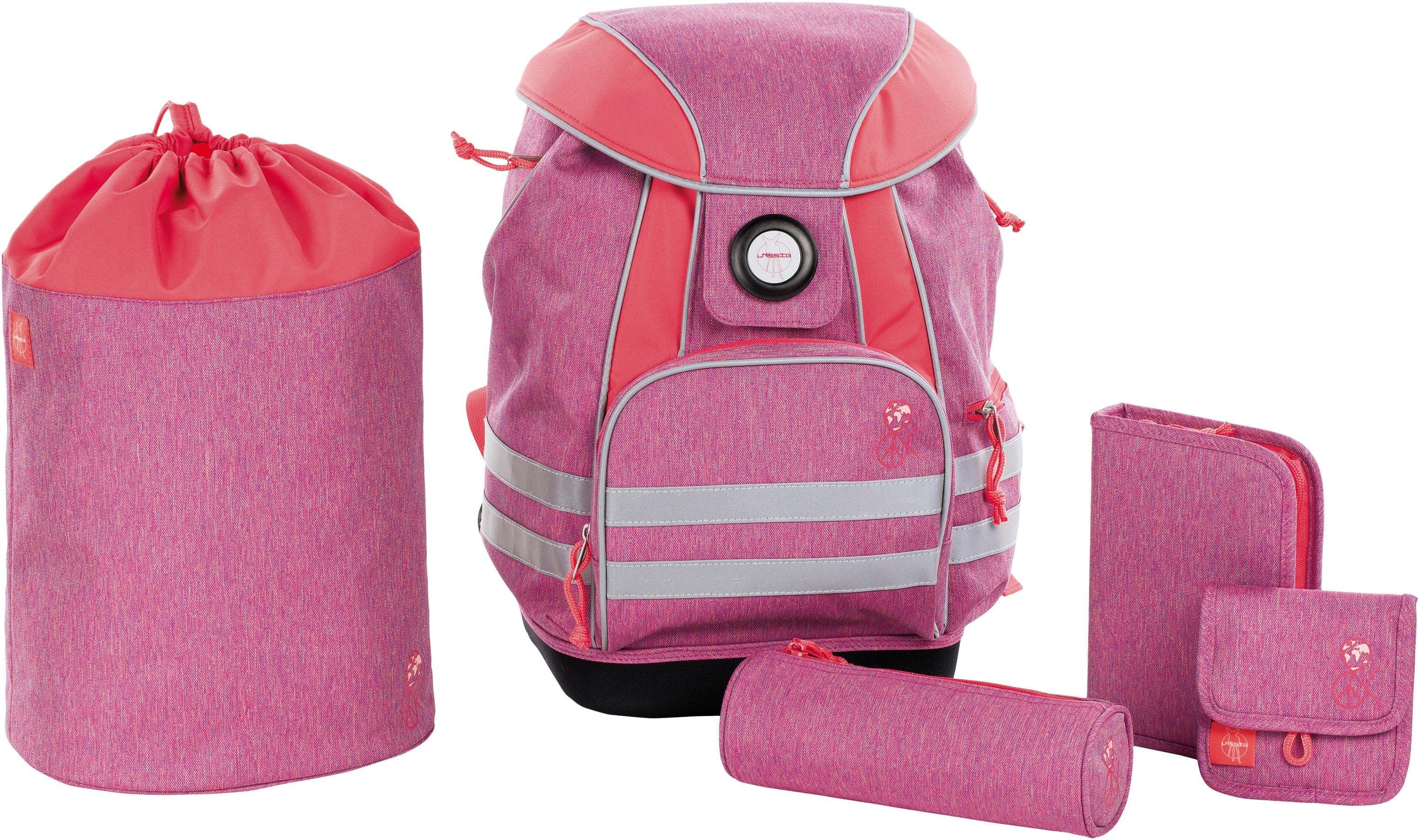 Lässig Schulrucksack Set, 5-tlg., »4Kids School Set, About Friends Mélange Pink«