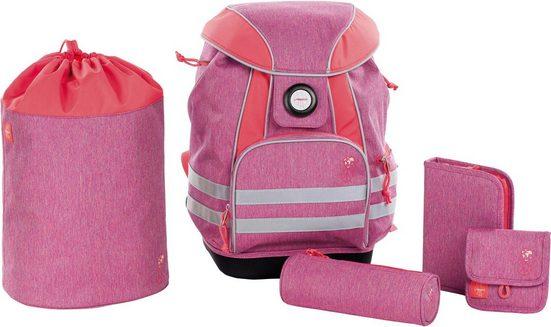 Lässig Schulrucksack »4Kids School Set, About Friends Mélange Pink« (Set)