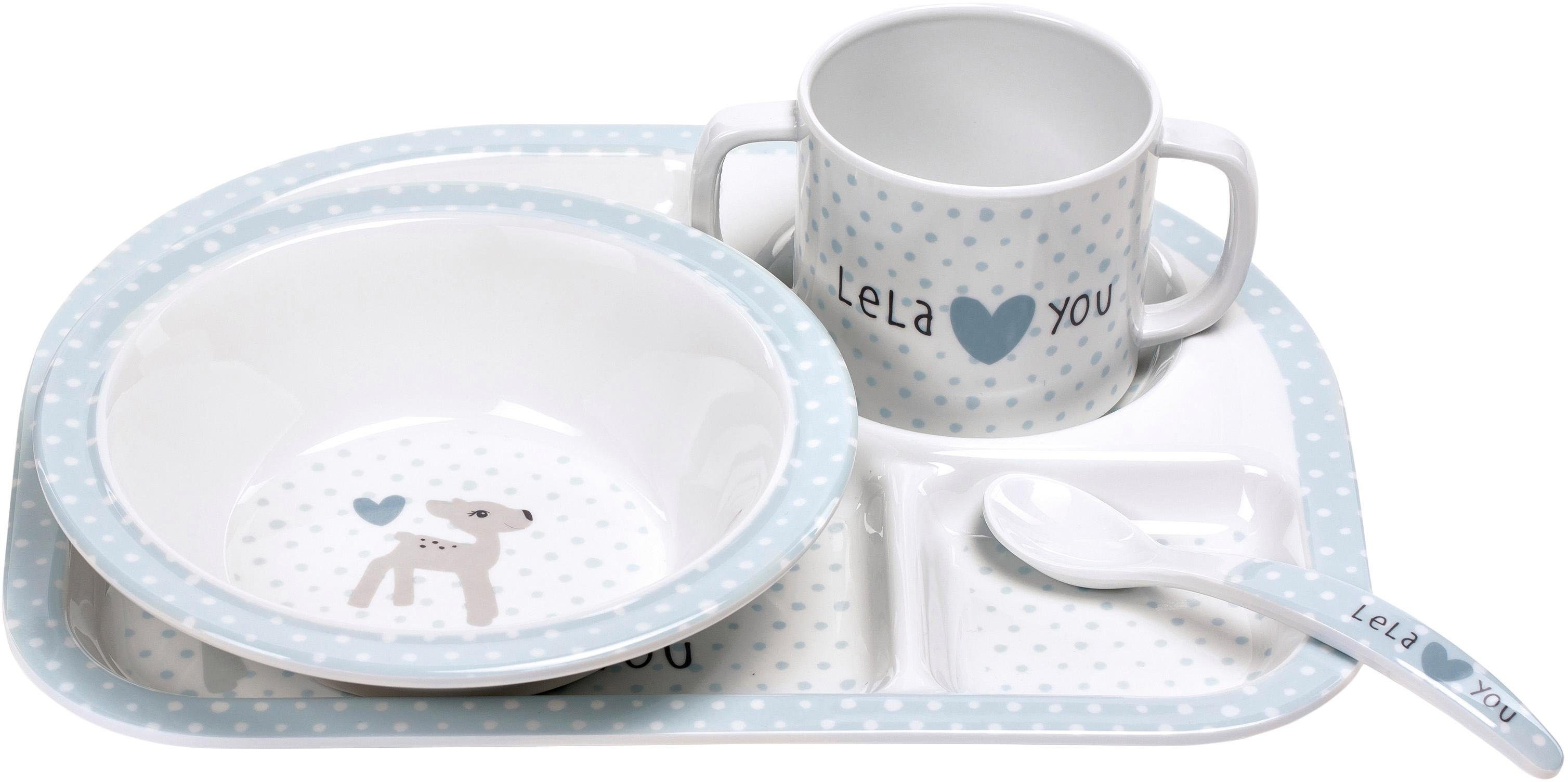 Lässig Kindergeschirr Set, 4-tlg., »Dish Set, Lela Light Blue«