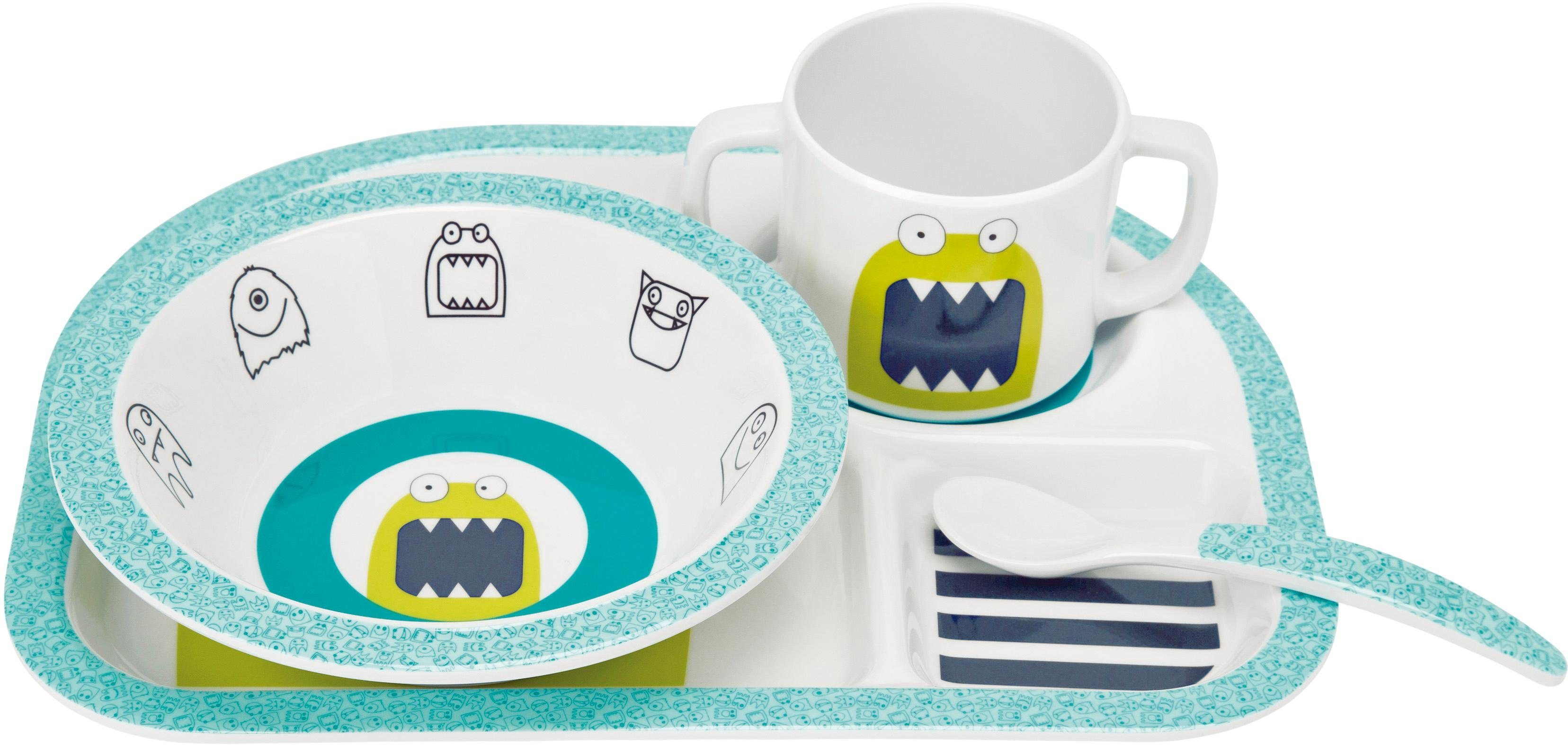 Lässig Kindergeschirr Set, 4-tlg. , »Dish Set, Little Monsters Bouncing Bob«