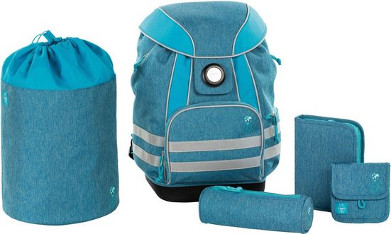 Lässig Schulrucksack »4Kids School Set, About Friends, Mélange Blue« (Set, 5)