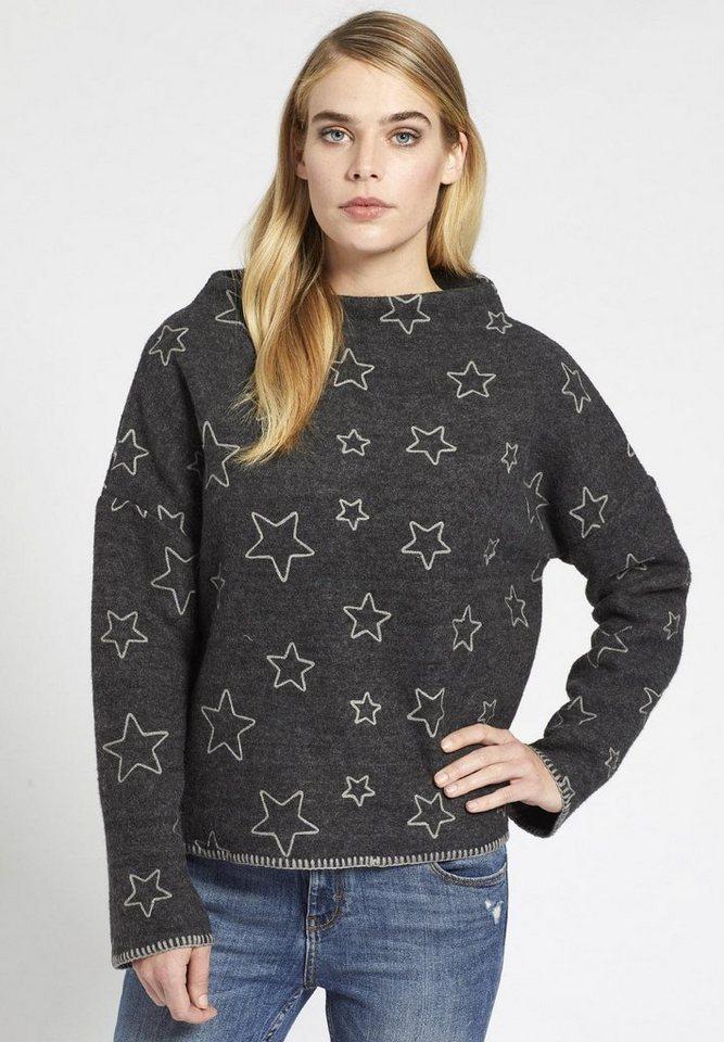 khujo Norwegerpullover »TAISIJA« mit Sternen-Stickerei
